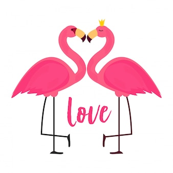 Cute pink flamingo in love background  illustration