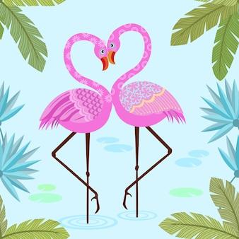 귀여운 핑크 플라밍고 패턴