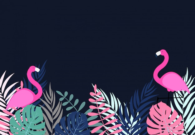 Cute pink flamingo summer background