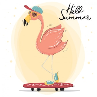 Cute pink flamingo wear cap and sun glasses skateboarding, summer time character vector