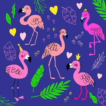 귀여운 핑크 플라밍고. 만화 새, 잎, 왕관, 모자와 함께 여름 세트. 열대 티셔츠 프린트, 생일 초대장에 적합합니다. 벡터 디자인입니다.