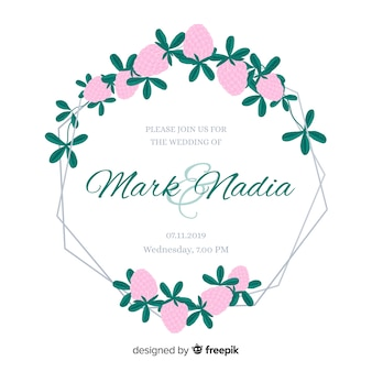 Cute pink flowers frame wedding invitation