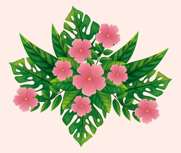 Милые розовые цветы с тропическими листьями
