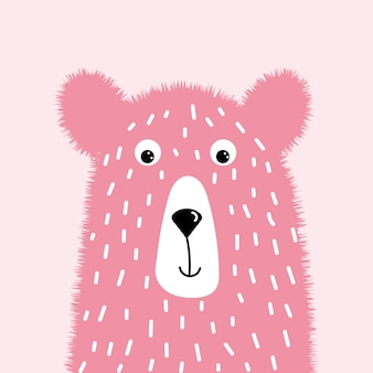 Cute pink fluffy bear