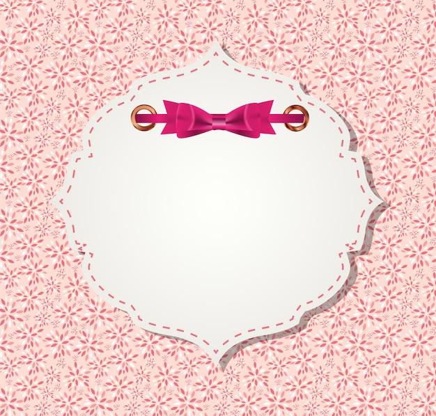 Cute pink frame vector illustration.