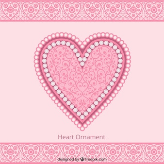 Cute pink heart ornament background