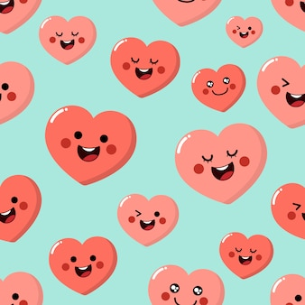Cute pink hearts cartoon character seamless pattern