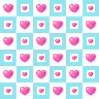 Симпатичные розовые сердца бесшовные модели