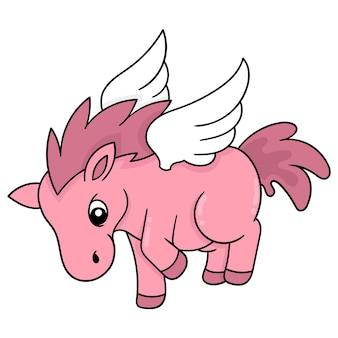 Милая розовая лошадь с крыльями может летать, векторная иллюстрация искусства. каракули изображение значка каваи.