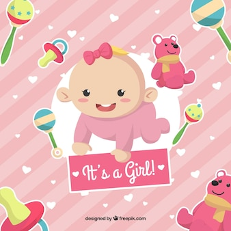 Cute pink its a girl background
