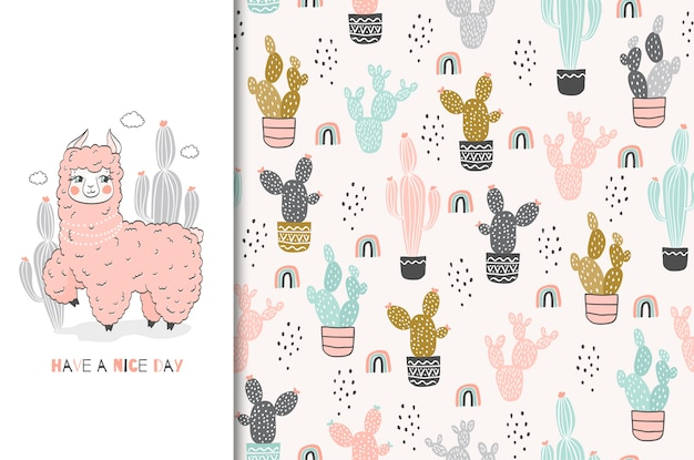 Cute pink lama character card and seamless pattern hand drawn illustration set