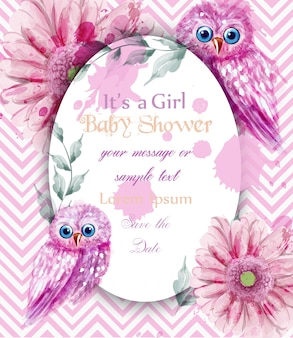 Cute pink owls card baby shower invitation watercolor