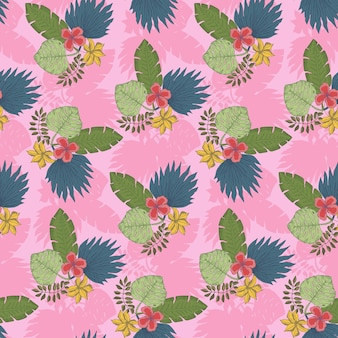 Cute pink pattern with tropical leaves bouquets
