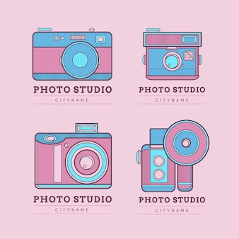 Cute pink photo studio logos