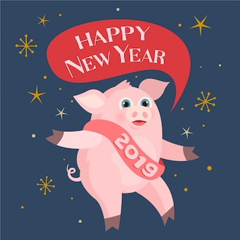 Cute pink pig. happy new year