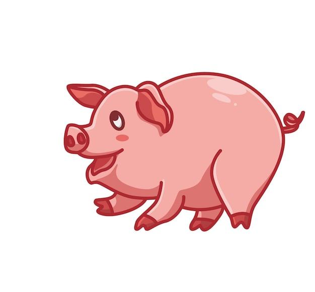 귀여운 핑크 돼지 웃음 미소 만화 동물 자연 개념 격리 된 그림입니다. 스티커 아이콘 디자인 프리미엄 로고 벡터에 적합한 플랫 스타일. 마스코트 캐릭터