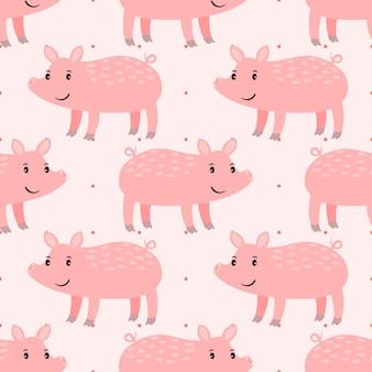 Cute pink pig seamless pattern