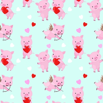 Cute pink pig with red heart shape seamless pattern.