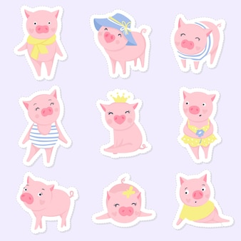 Cute pink pigs set