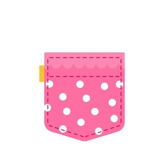 Симпатичный розовый карман в горошек шаблон женской одежды для текста и темы векторные иллюстрации