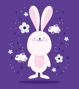 Cute pink rabbit clouds dflowers cartoon decoration vector design and illustration