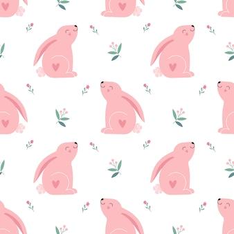 Милый розовый кролик, цветы. бесшовные модели