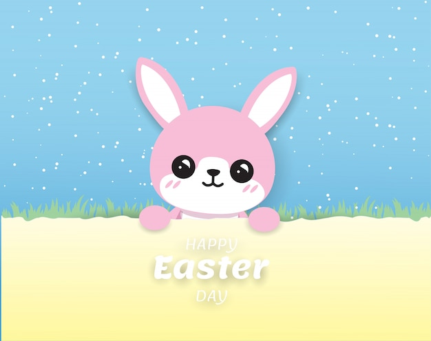 Cute pink rabbit happy easter on blue background ,digitalcraft,paper cut