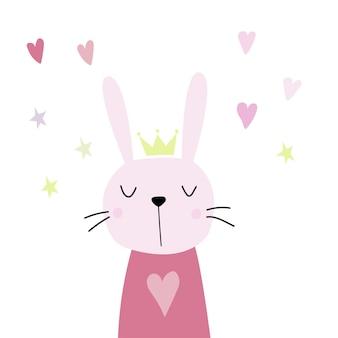 スカンジナビアスタイルのフラットイラストの王冠を持つかわいいピンクのウサギウサギの心と星