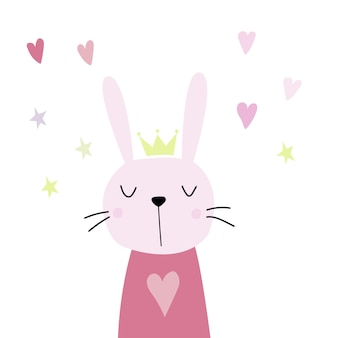 Cute pink rabbit with a crown in a scandinavian style flat illustration rabbit hearts and stars