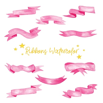Cute pink ribbons in watercolor illustration