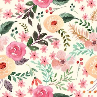 かわいいピンクのバラとオレンジの花の水彩画のシームレスなパターン