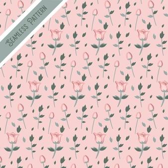 かわいいピンクのバラのシームレスなパターン