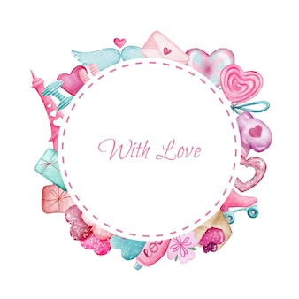 Cute pink round border with valentines day elements