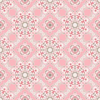 かわいいピンクのシームレスな抽象的なタイルパターンベクトルウェブ背景