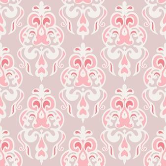 かわいいピンクのシームレスなダマスク織ヴィンテージタイルパターンベクトルウェブ背景