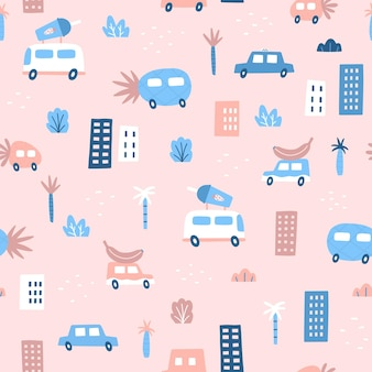 Cute pink seamless pattern. cars and fruits