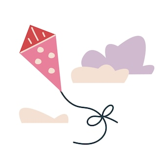 물방울 무늬가 있는 귀여운 분홍색 뱀. 어린이를 위한 벡터 인쇄입니다. 구름을 배경으로 하늘을 나는 것. 미니멀리즘 또는 인쇄. 흰색 클립 아트에 고립 된 공원에서 노는 아이 그림