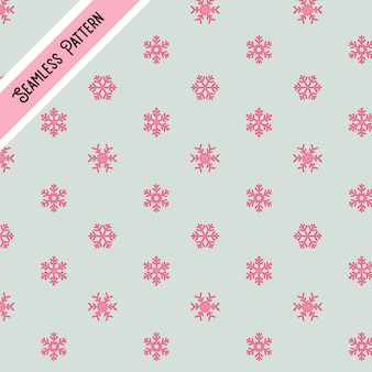 Cute pink snow flakes seamless pattern