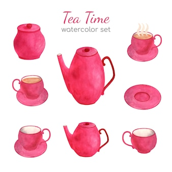 Cute pink tea set crockery, watercolor illustration
