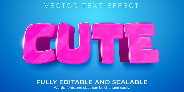 Cute pink text effect editable light and soft text style
