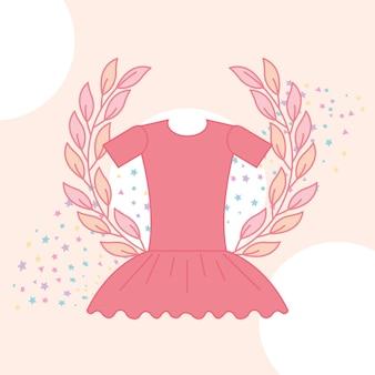 Cute pink tutu ballet emblem