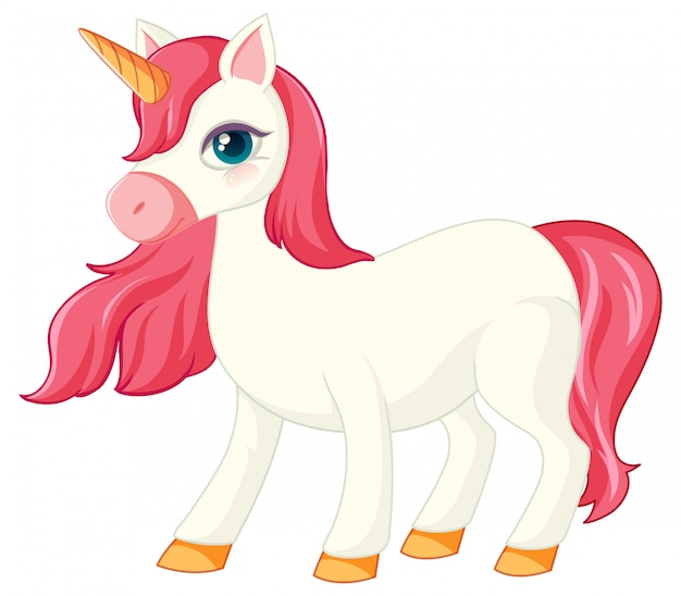 Cute pink unicorn in normal standing position on white background