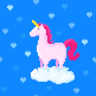 Cute pink unicorn stands on a cloud surrounded by hearts. pixel art image. 8 bit style. seamless pattern.