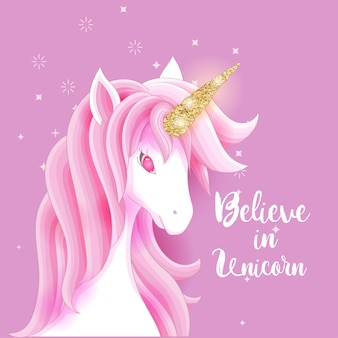 Premium Vector Cute Pink Unicorn With Gold Glitter Horn