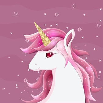 Cute pink unicorn with gold glitter horn