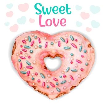 かわいいピンクの水彩ハートドーナツ甘い愛のメッセージ