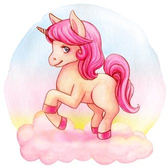 Cute pink watercolor unicorn on a cloud and rainbow background