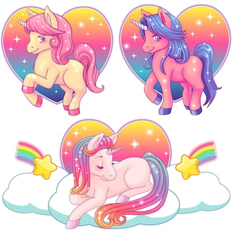 Cute pink watercolor unicorn collection on a rainbow background