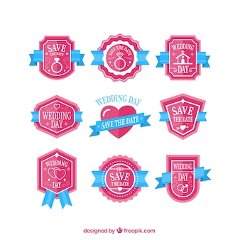 Cute pink wedding day badge collection
