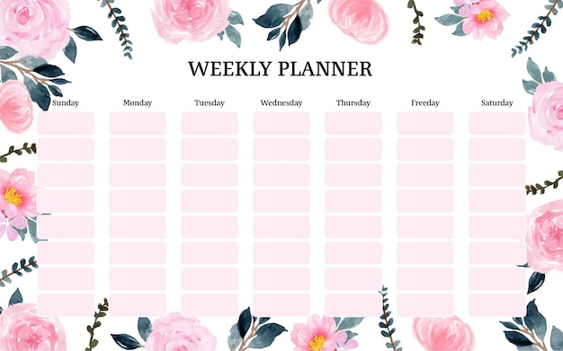 Cute pink weekly planner with beautiful pink floral frame